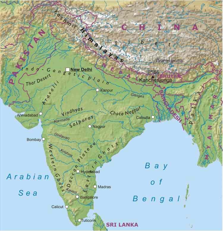 Harta Reliefului India Profu De Geogra